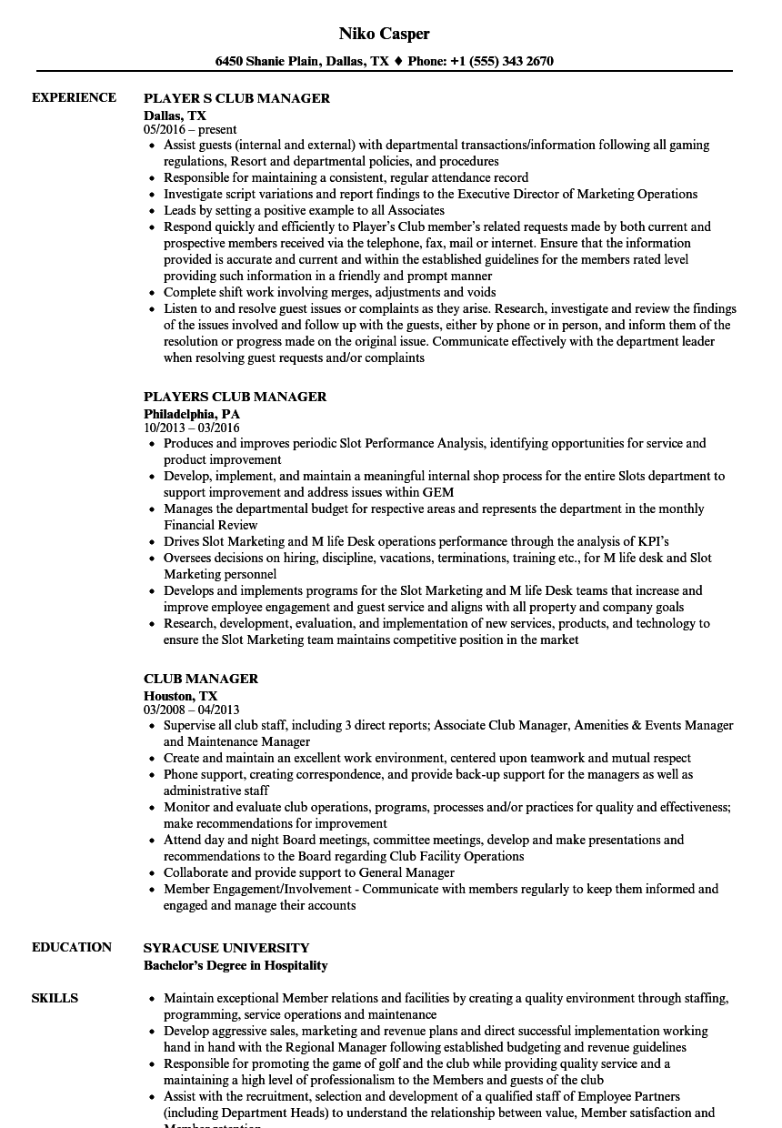 Download Club Manager Resume Sample As Image File