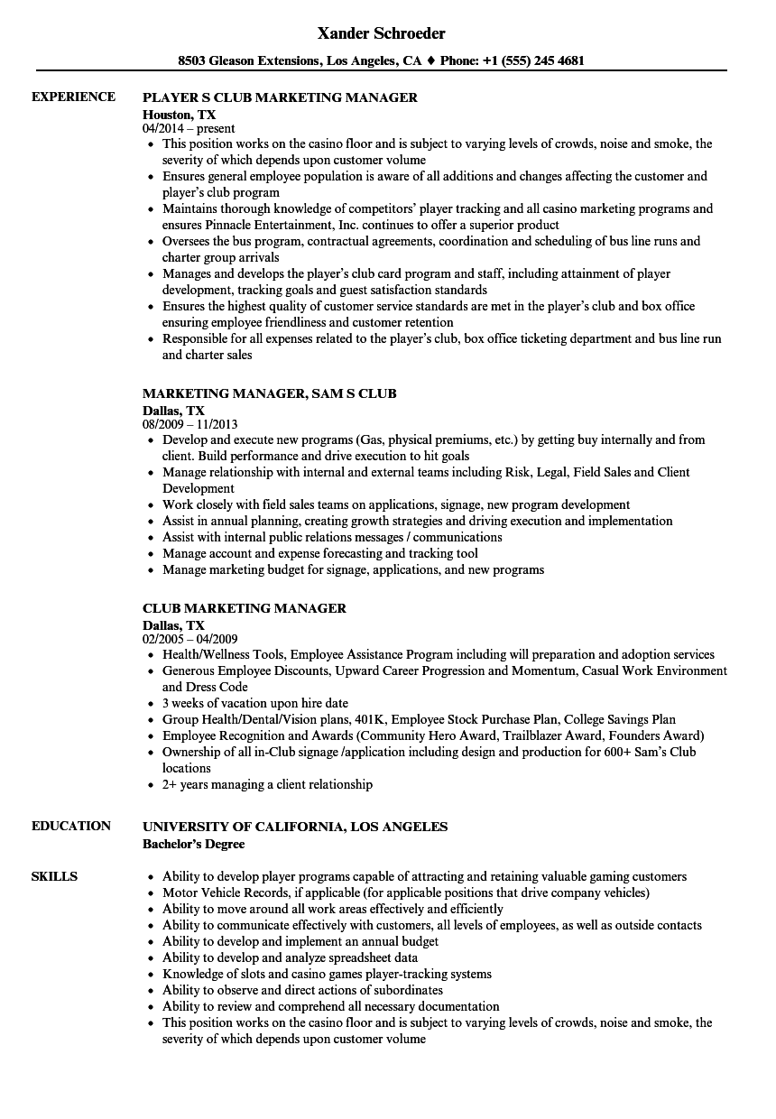 Club Marketing Manager Resume Samples | Velvet Jobs