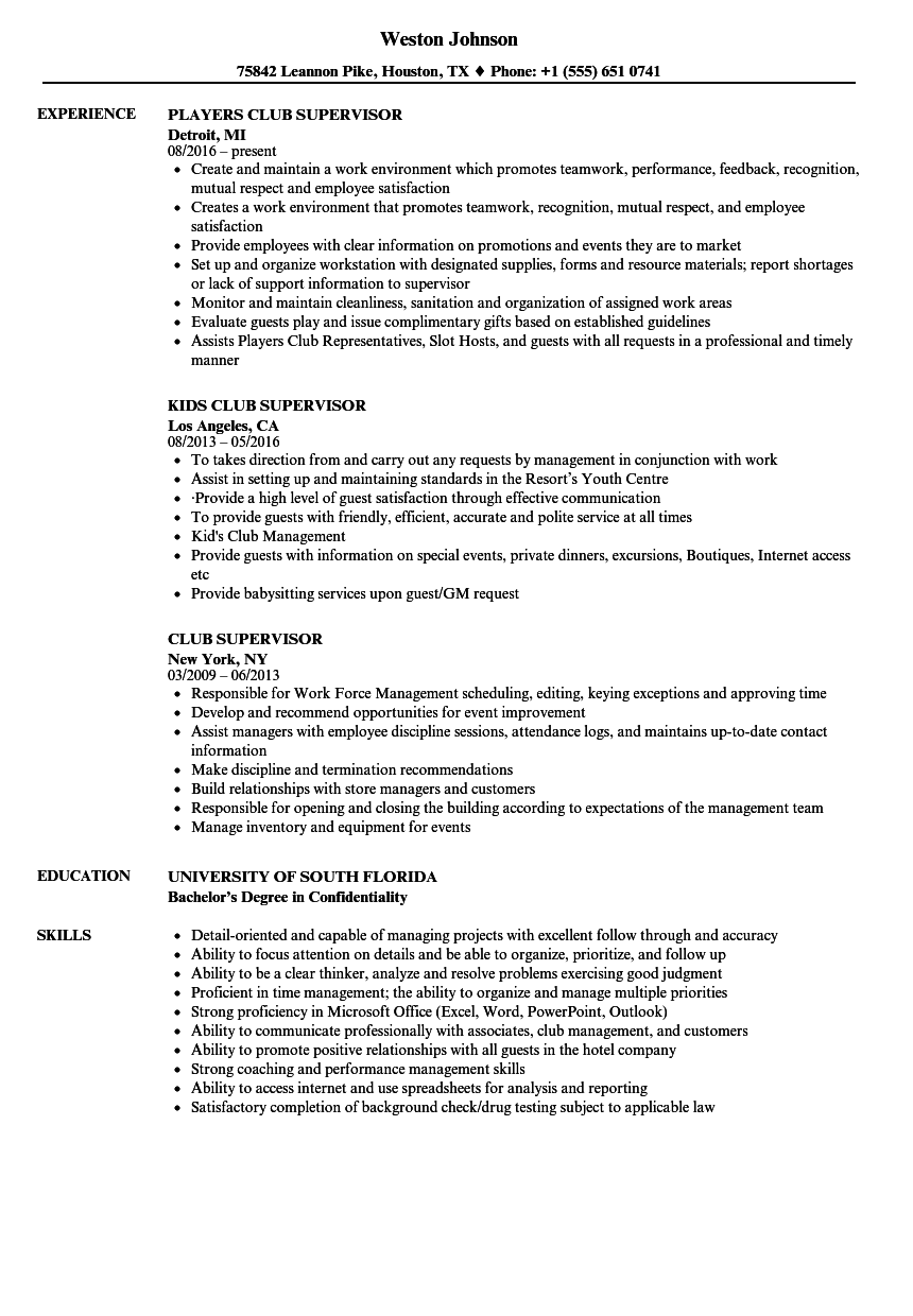 Club Supervisor Resume Samples | Velvet Jobs