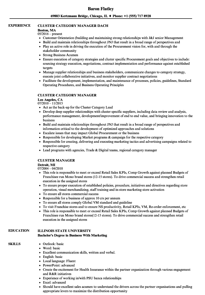Download Cluster Manager Resume Sample As Image File