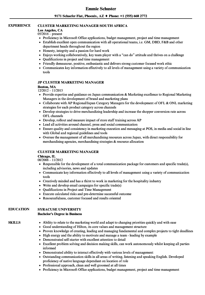 cluster marketing manager resume samples