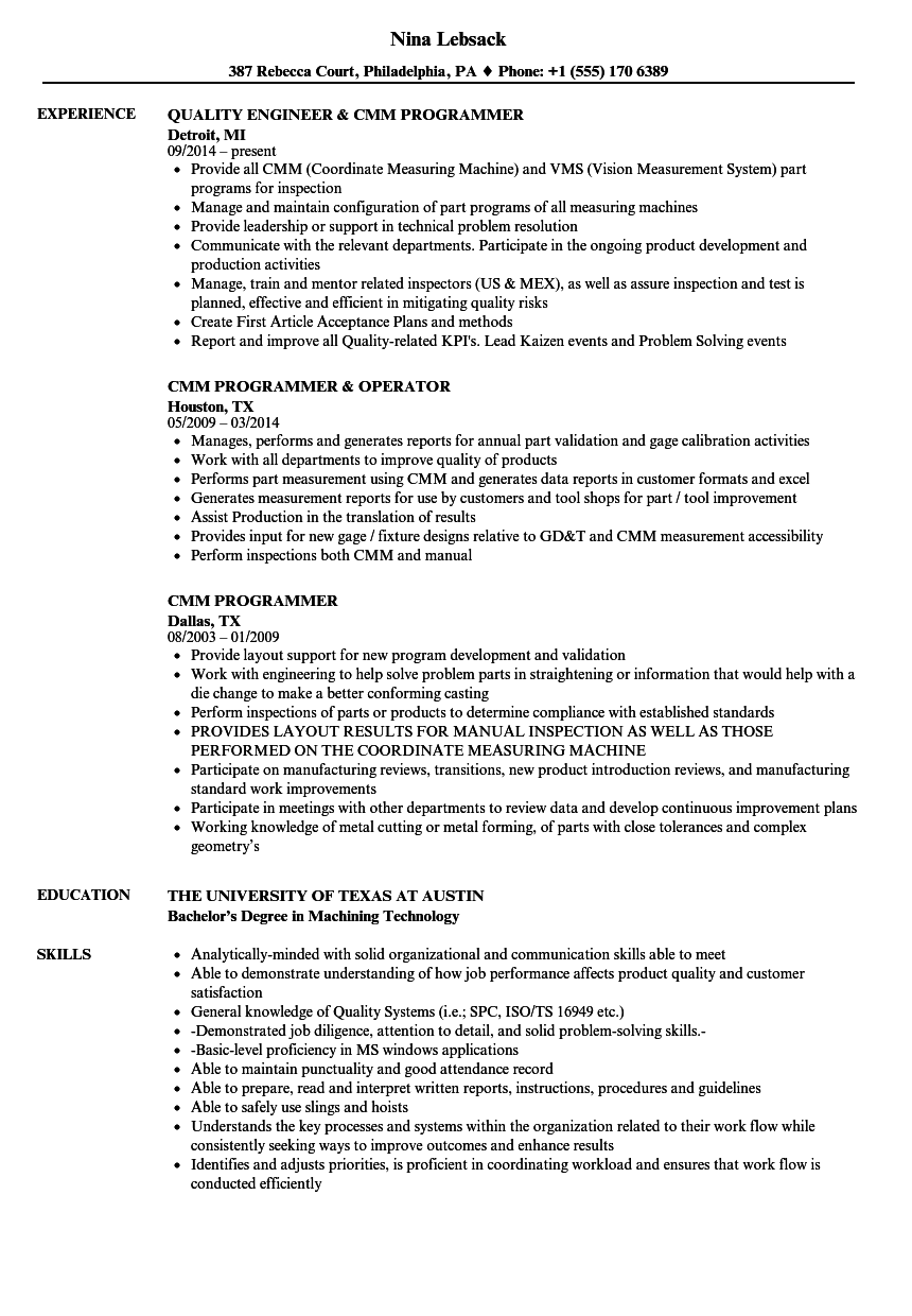 Cmm Programmer Resume Samples Velvet Jobs