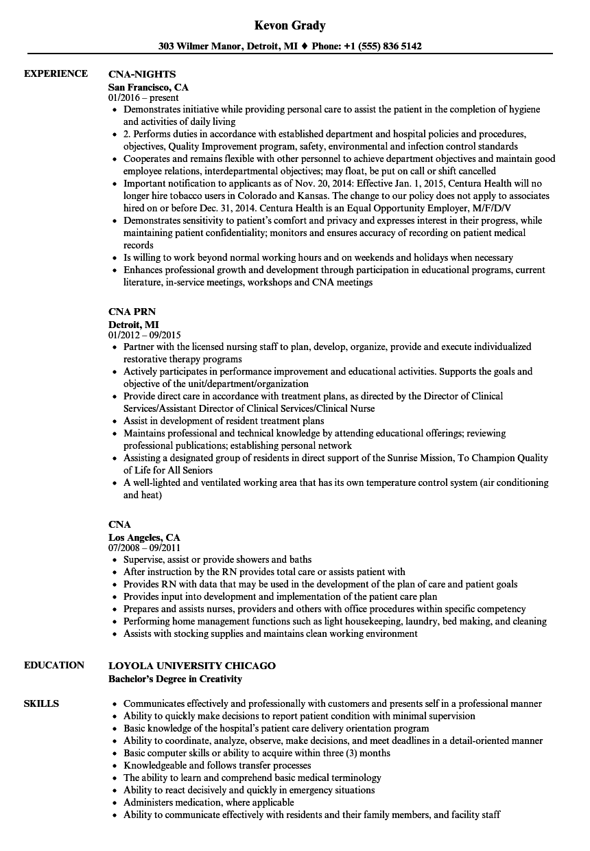 Cna Resume Samples | Velvet Jobs
