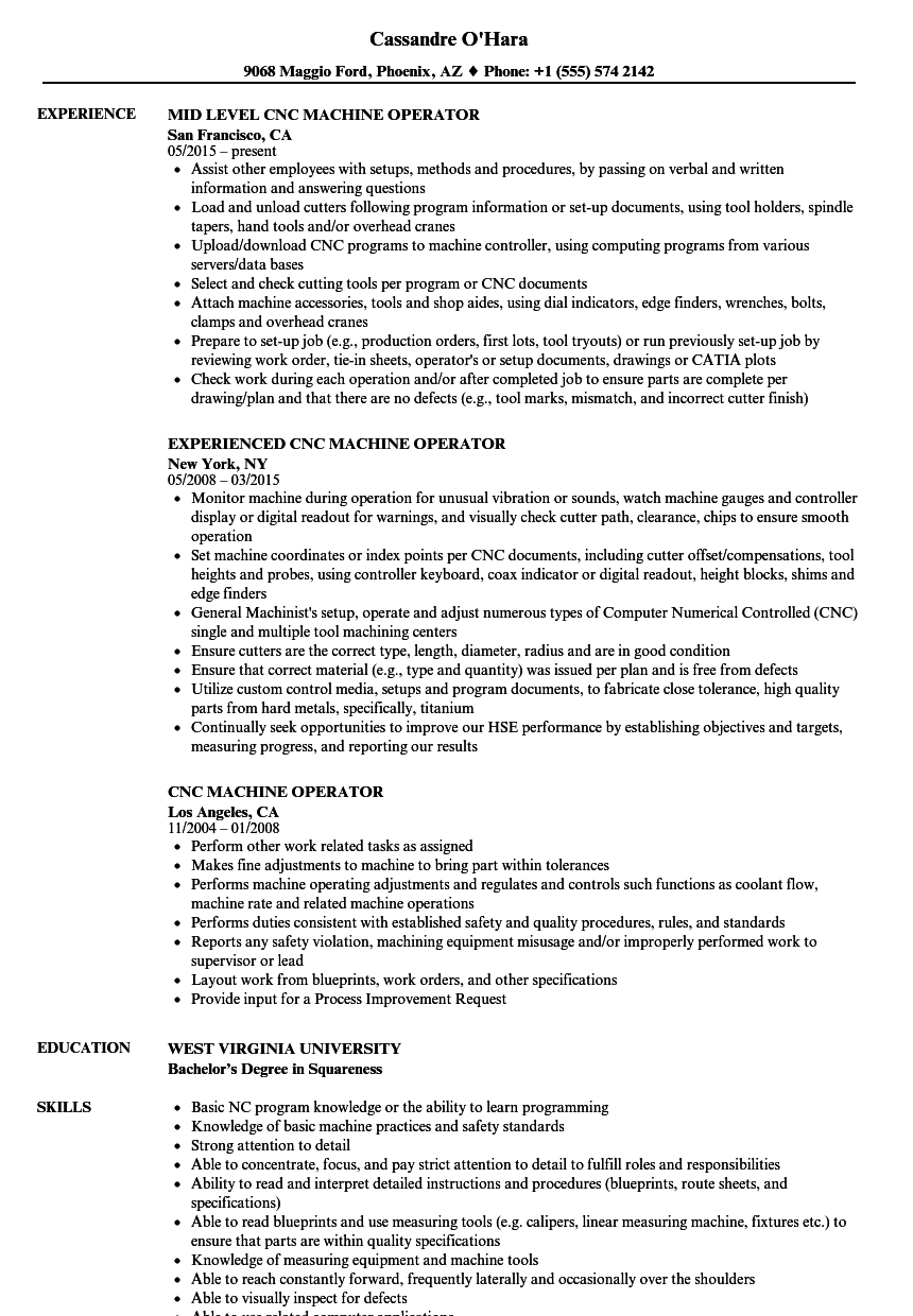 sample resume for machine operator position - cnc machine operator resume samples velvet jobs