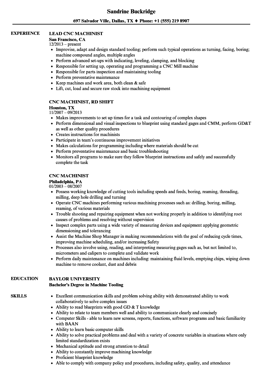 download cnc machinist resume sample as image file - Cnc Machinist Resume
