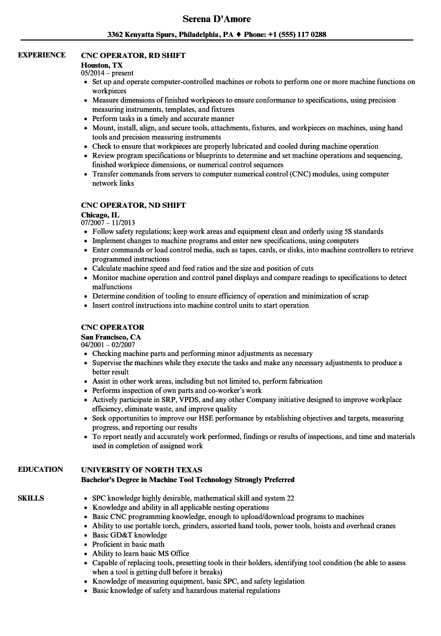 Velvet Jobs  Cnc Machine Operator Resume