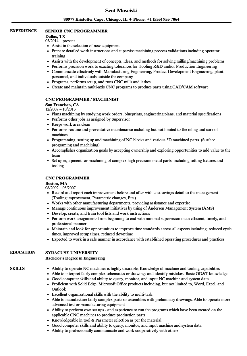 CNC Programmer Resume Samples | Velvet Jobs