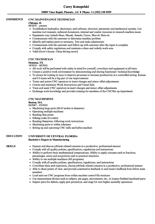 CNC Resume Samples | Velvet Jobs