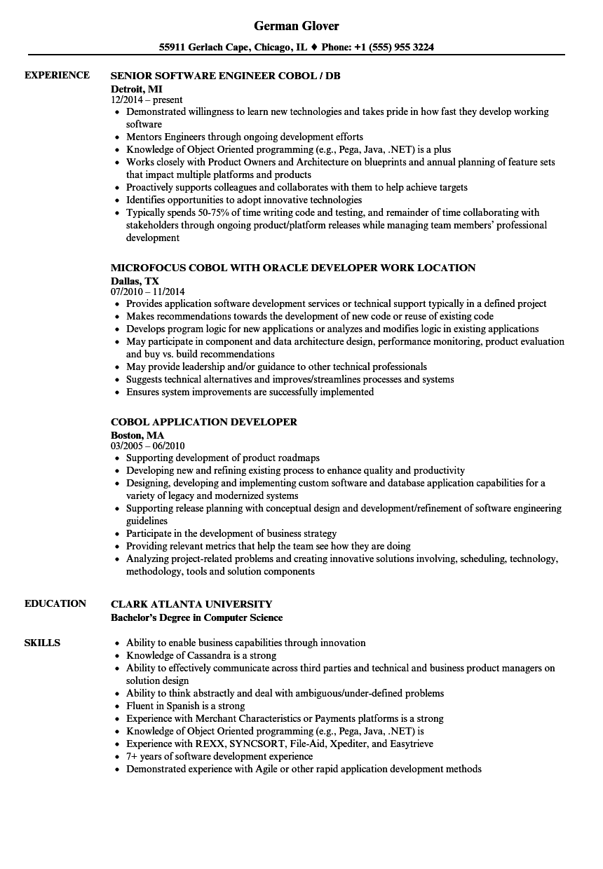 Cobol Resume Samples | Velvet Jobs