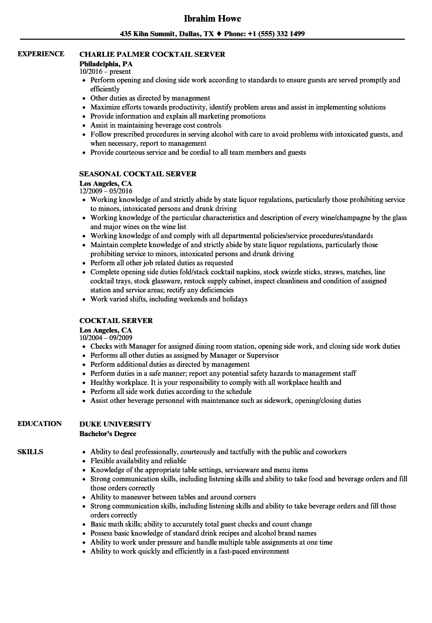 Cocktail Server Resume Samples | Velvet Jobs