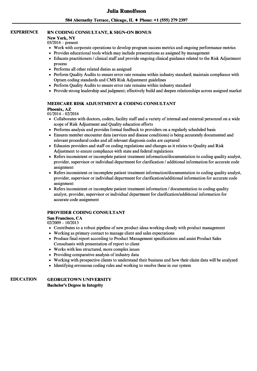 Download Coding Consultant Resume Sample As Image File