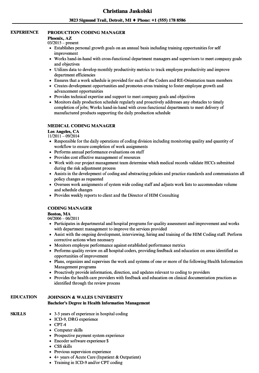 download coding manager resume sample as image file - Health Information Management Resume