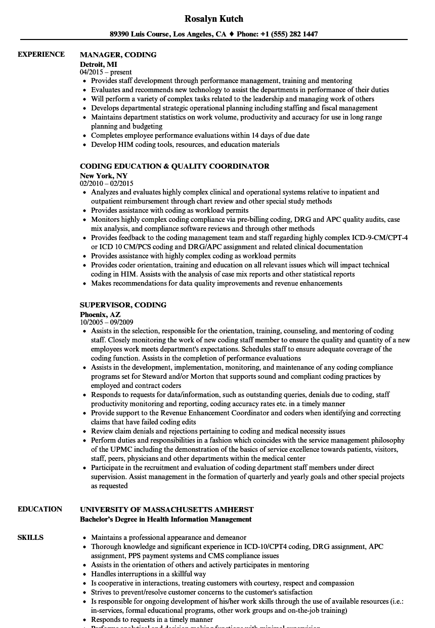 Coding resume samples velvet jobs xflitez Gallery