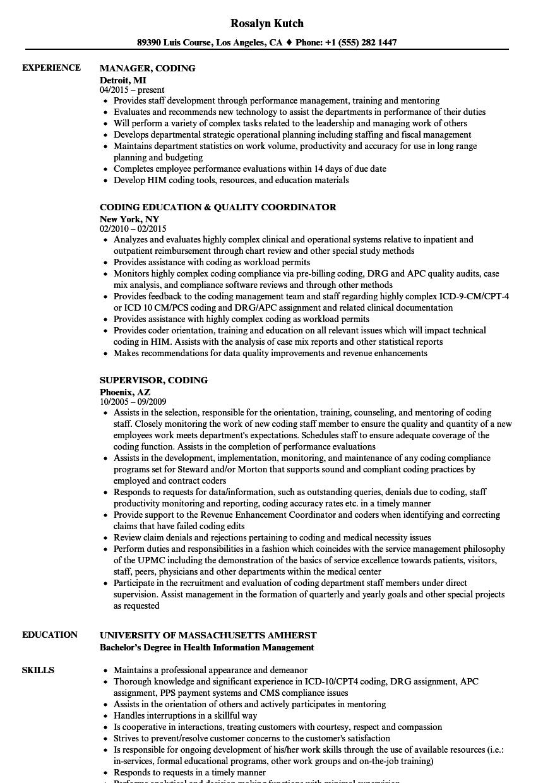coding resume samples