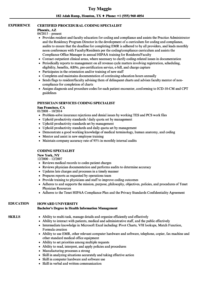 Download Coding Specialist Resume Sample As Image File