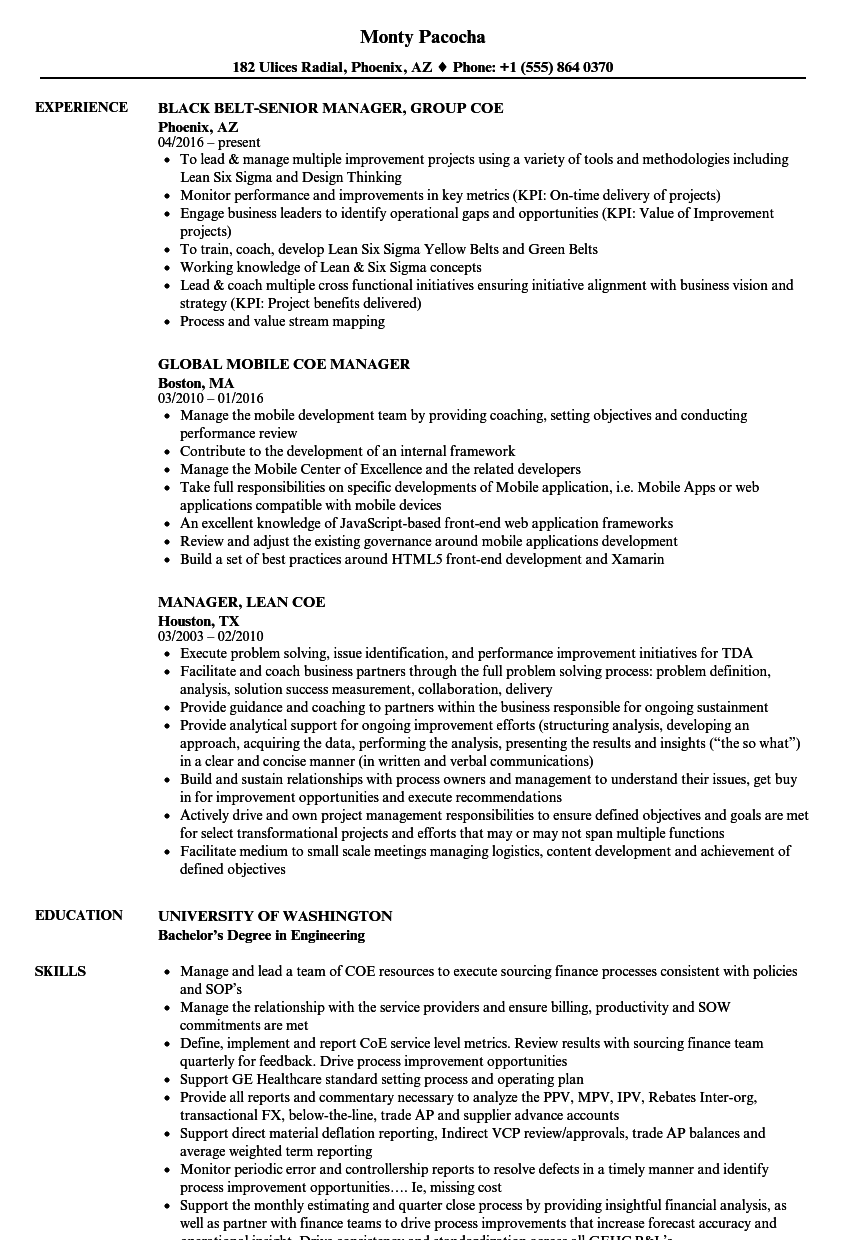coe manager resume samples velvet jobs