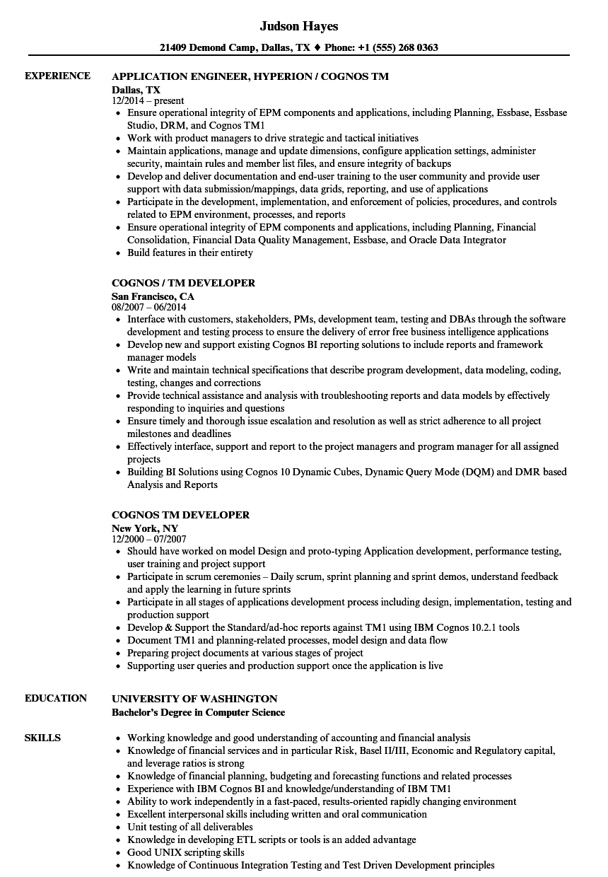 cognos tm resume samples velvet jobs