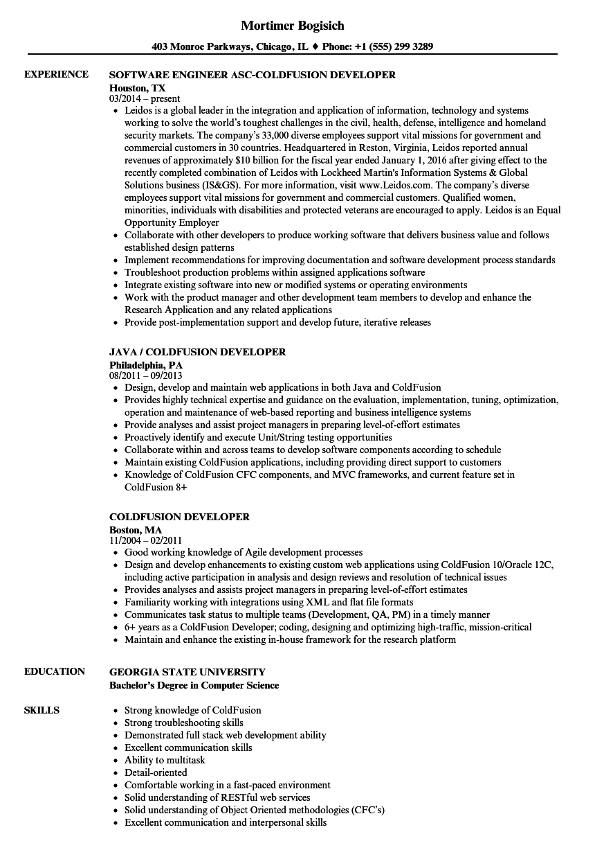 download coldfusion developer resume sample as image file - Restful Web Services Resume