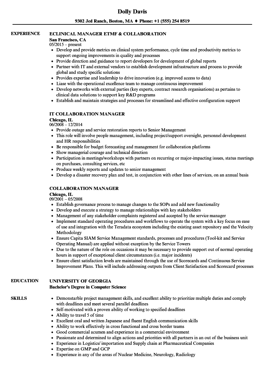 collaboration manager resume samples