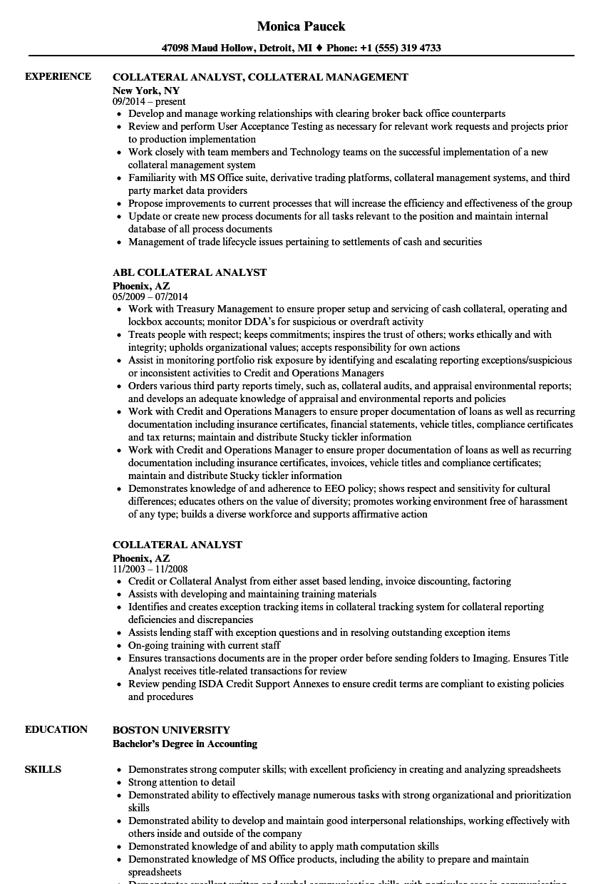 Collateral Analyst Resume Samples Velvet Jobs