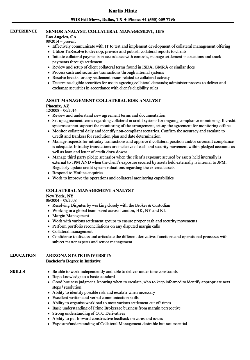 Collateral Management Analyst Resume Samples | Velvet Jobs
