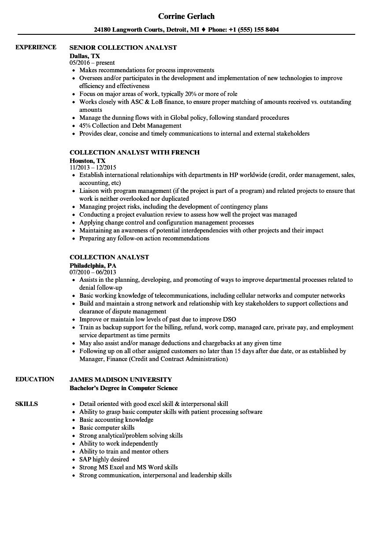 Collection Analyst Resume Samples | Velvet Jobs