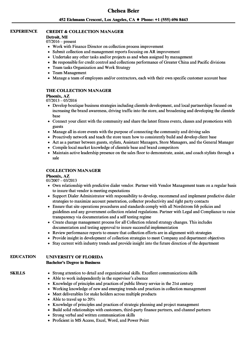 collection manager resume samples