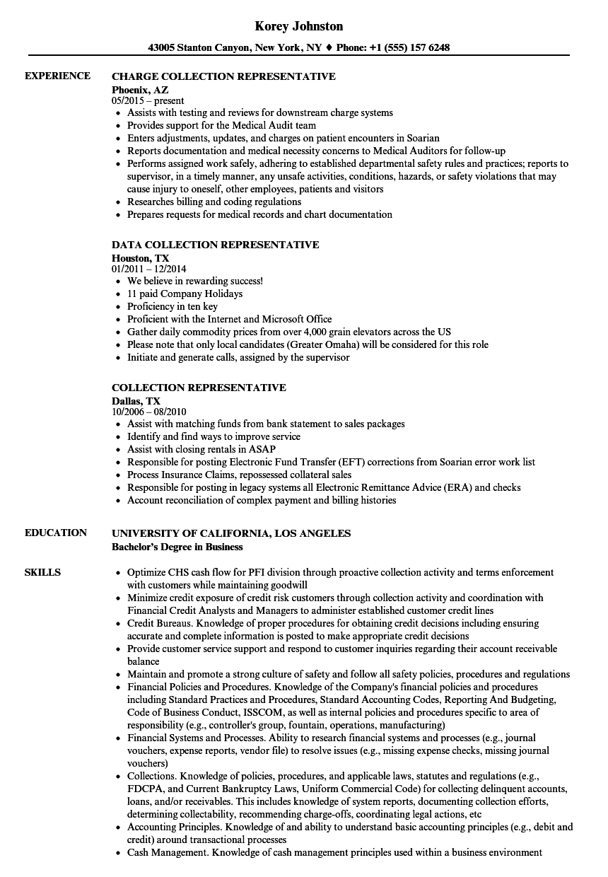 Collection Representative Resume Samples | Velvet Jobs