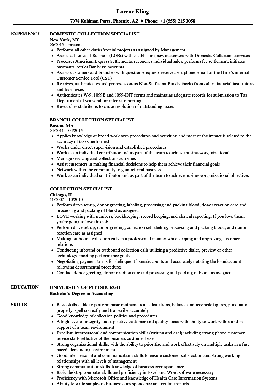 Collection Specialist Resume Samples Velvet Jobs