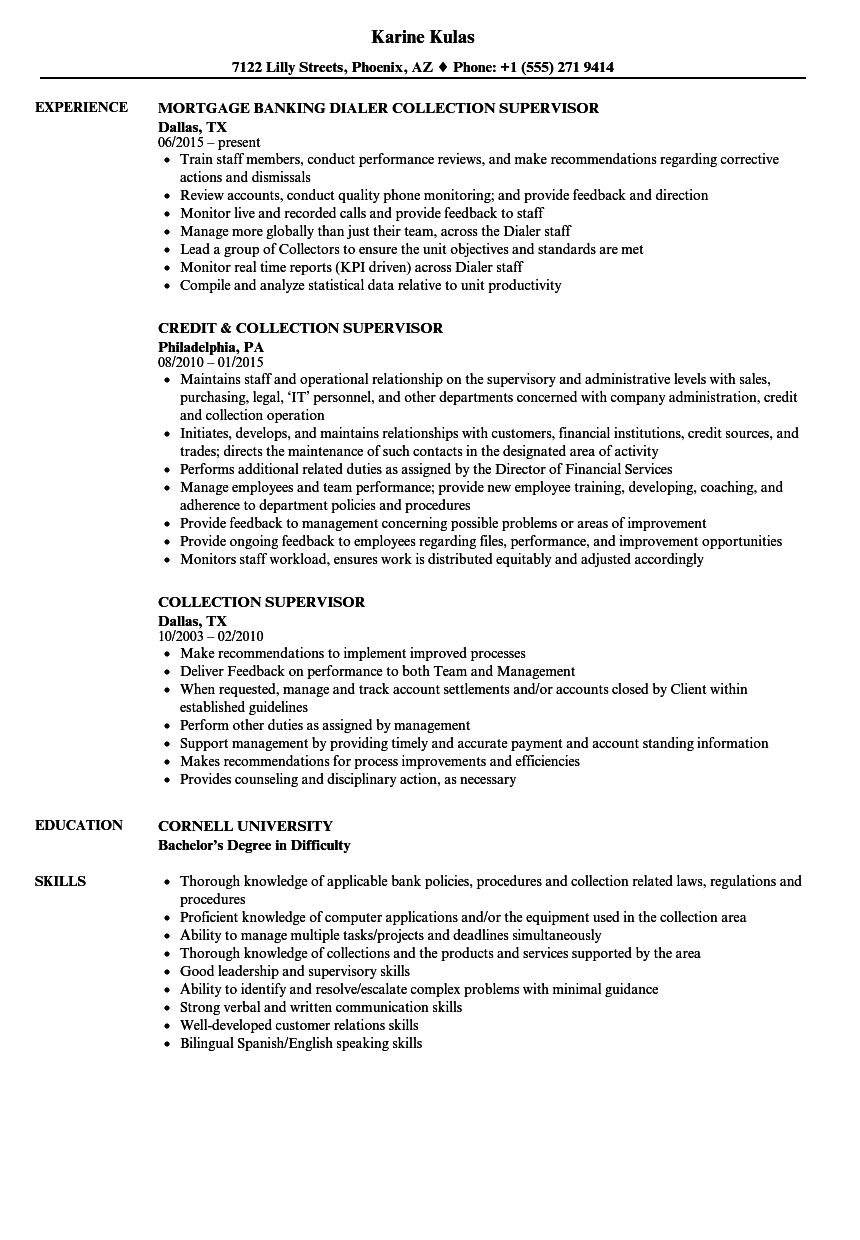 collection supervisor resume samples velvet jobs