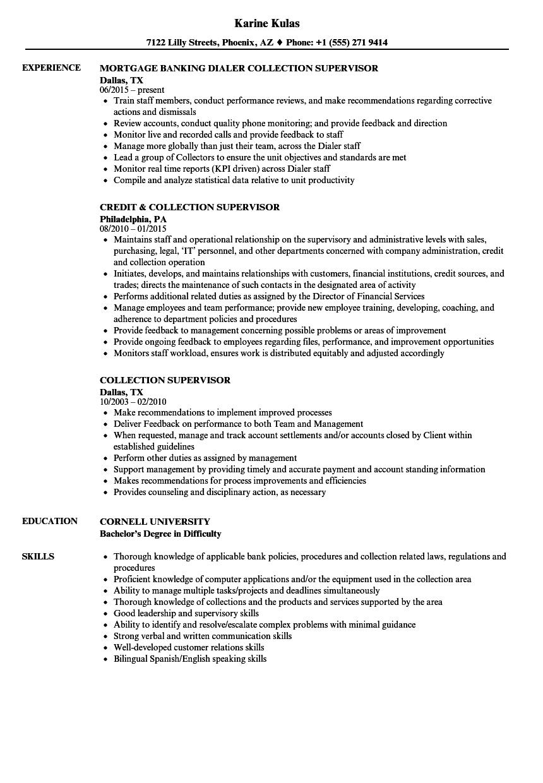Collection Supervisor Resume Samples | Velvet Jobs