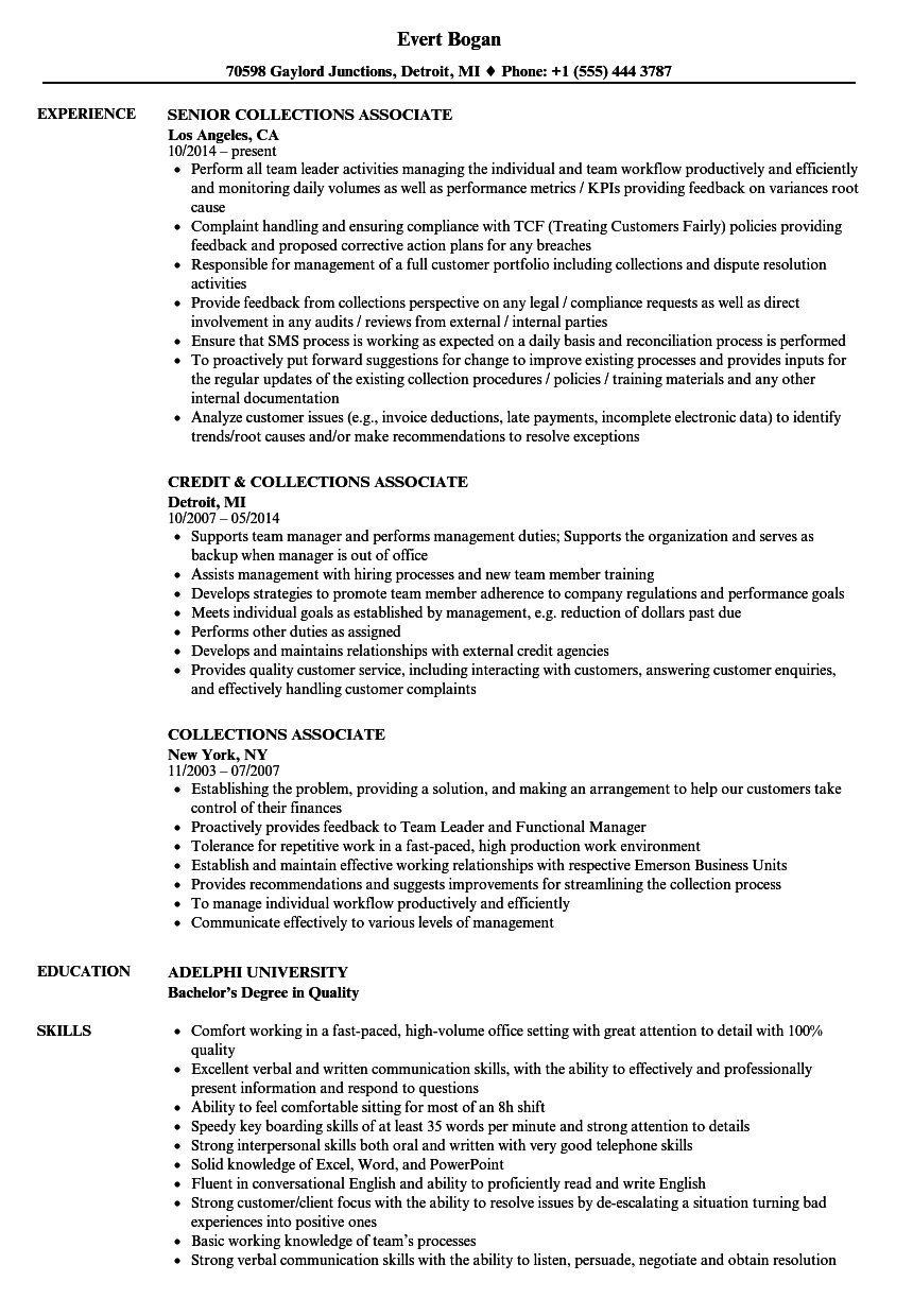 collections associate resume samples