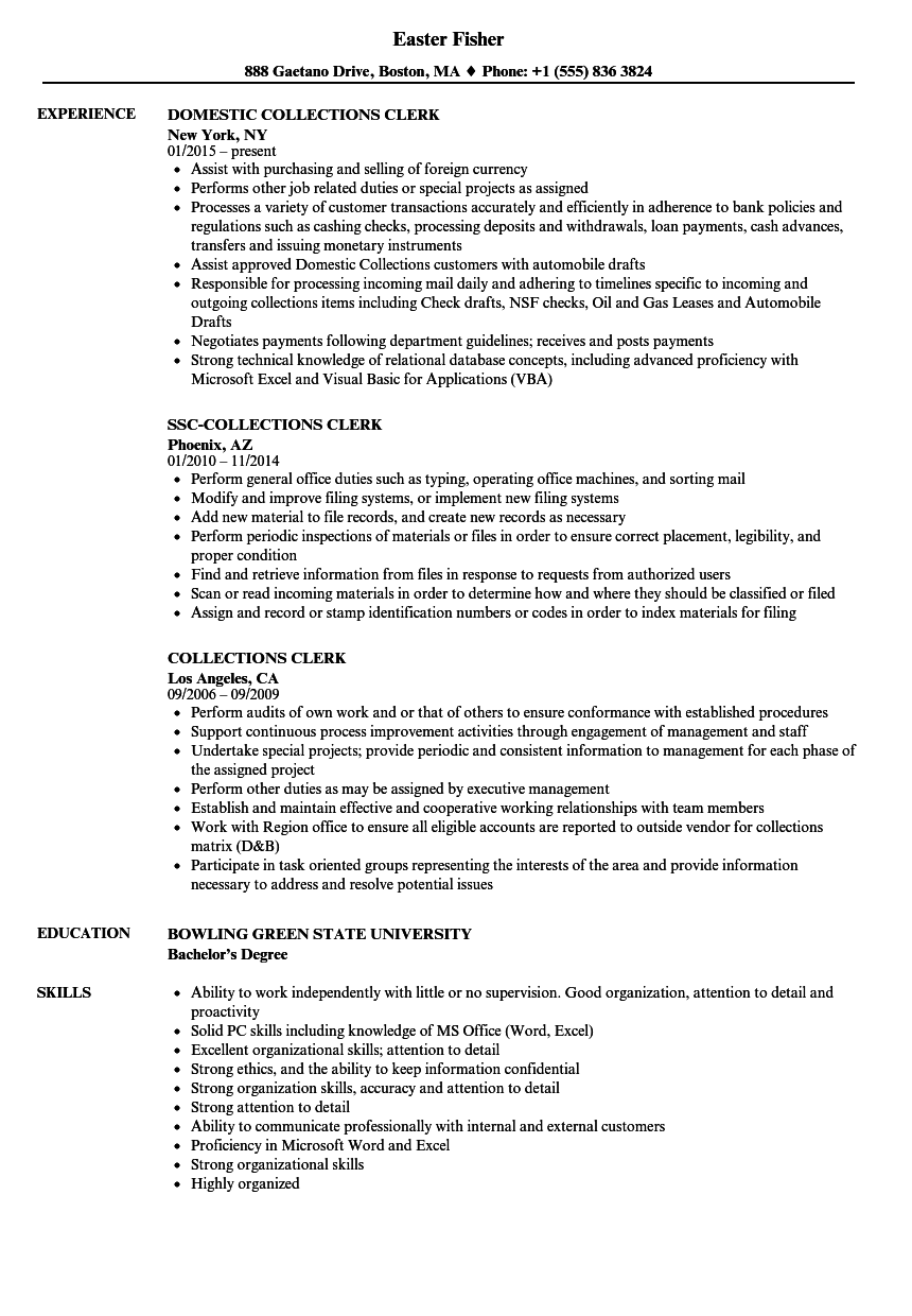 Collections Clerk Resume Samples Velvet Jobs