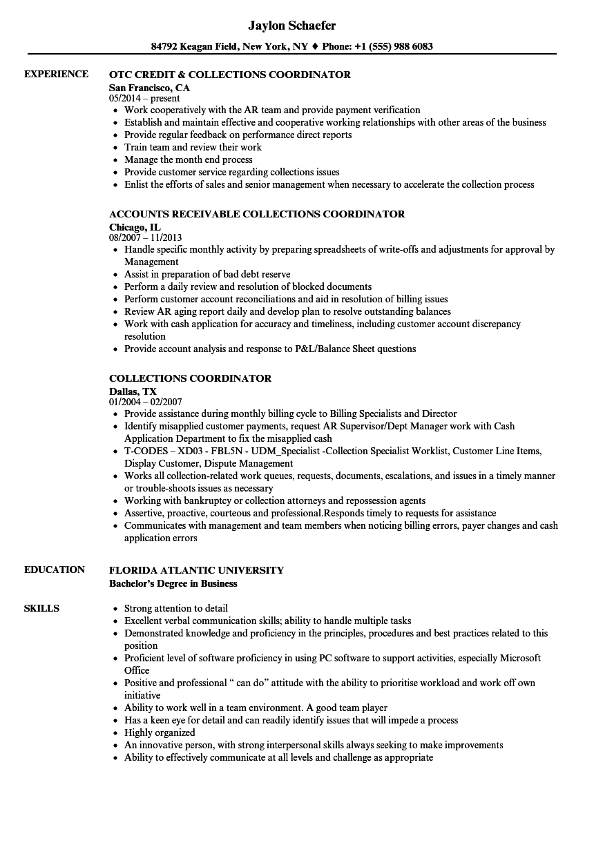 Collections Coordinator Resume Samples | Velvet Jobs