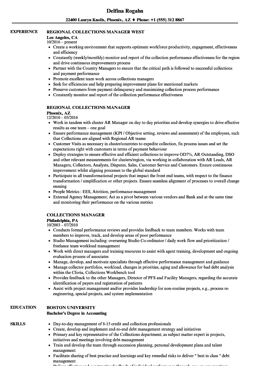 collections manager resume samples