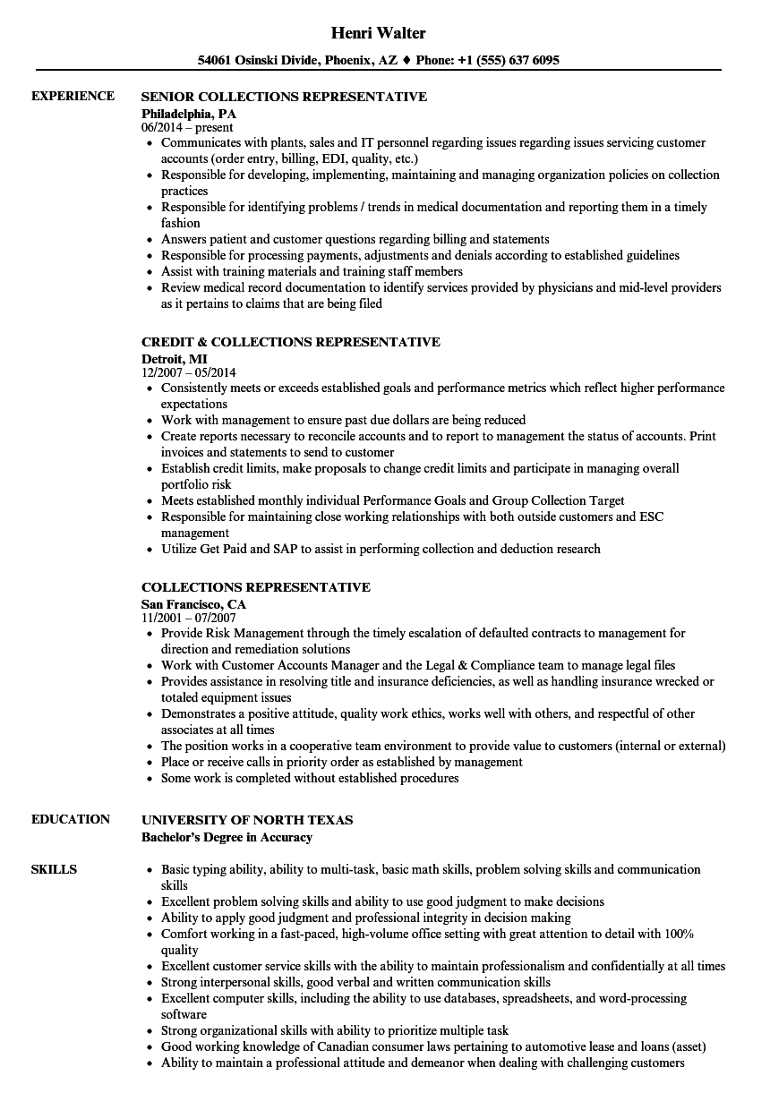 collections representative resume samples velvet jobs