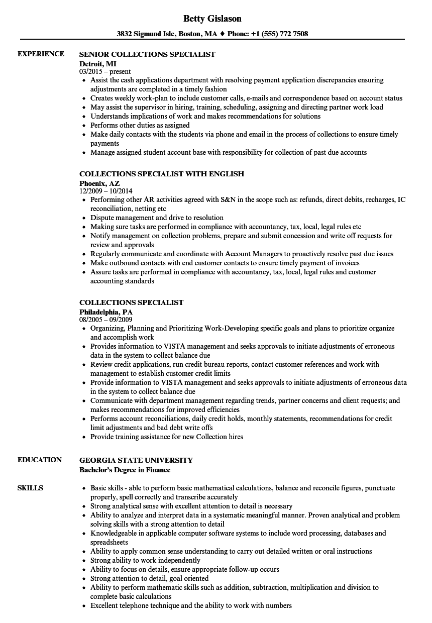 Collections Specialist Resume Samples Velvet Jobs