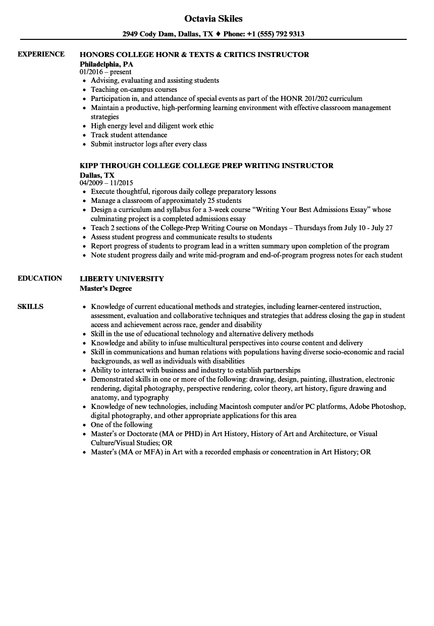 college instructor resume samples