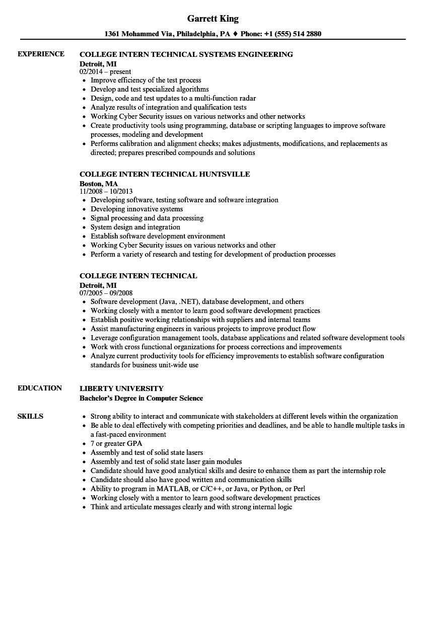 college intern technical resume samples