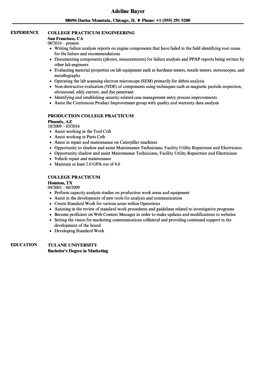 college practicum resume samples