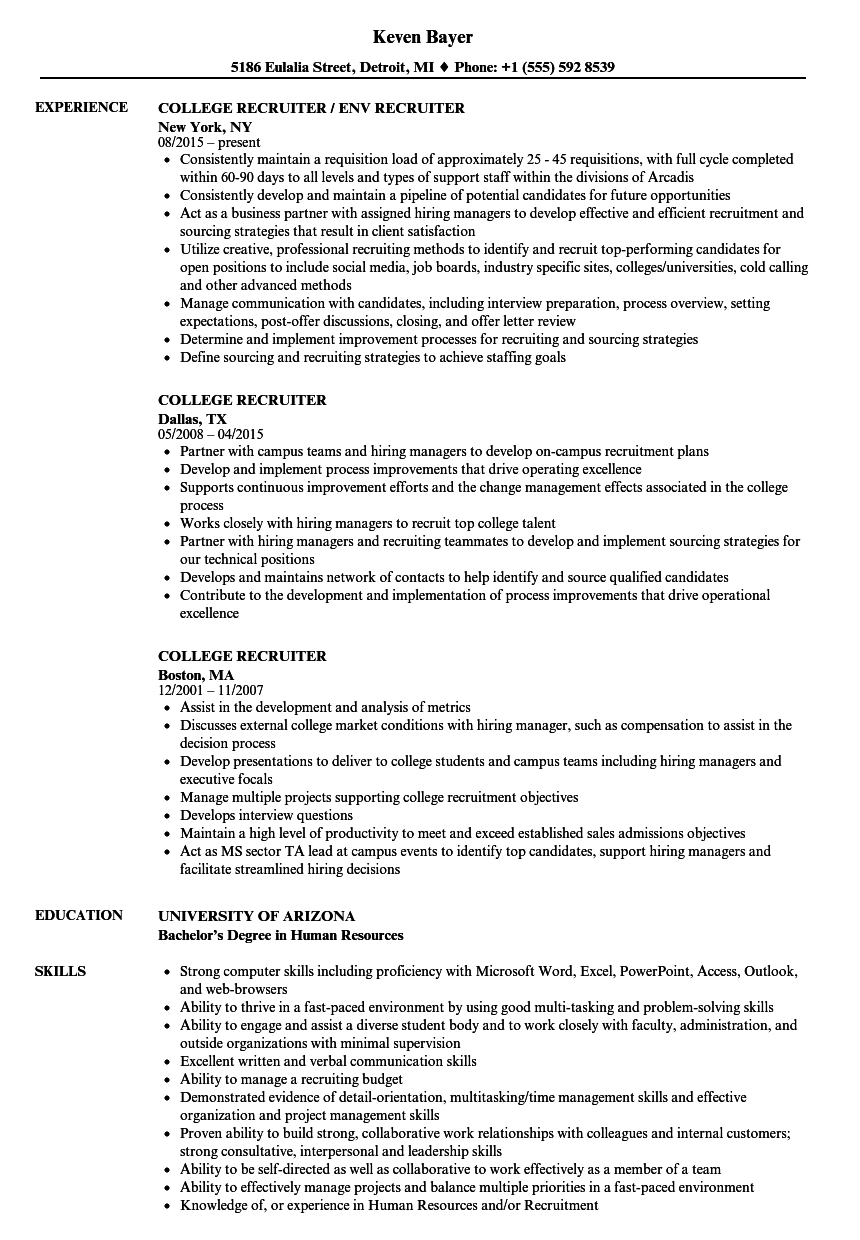 College Recruiter Resume Samples | Velvet Jobs