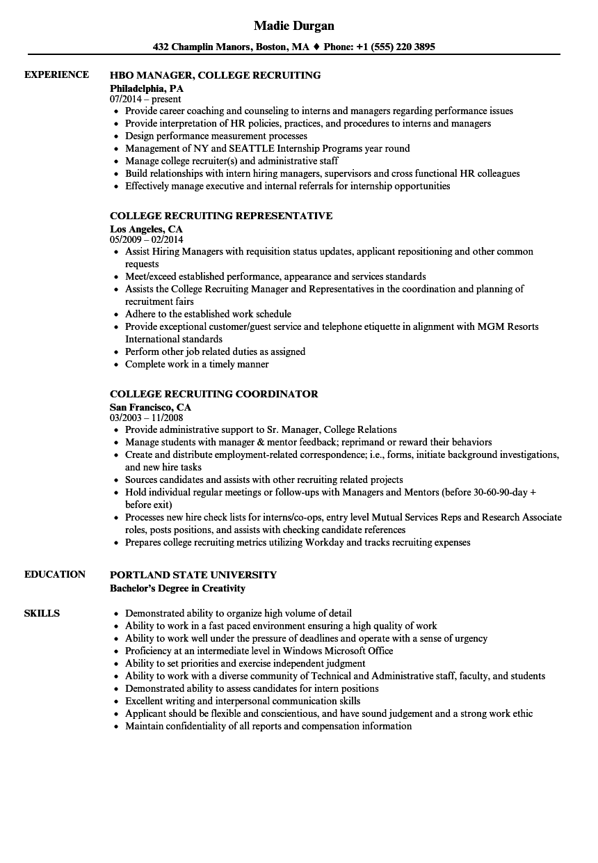 download college recruiting resume sample as image file - Recruiting Coordinator Resume
