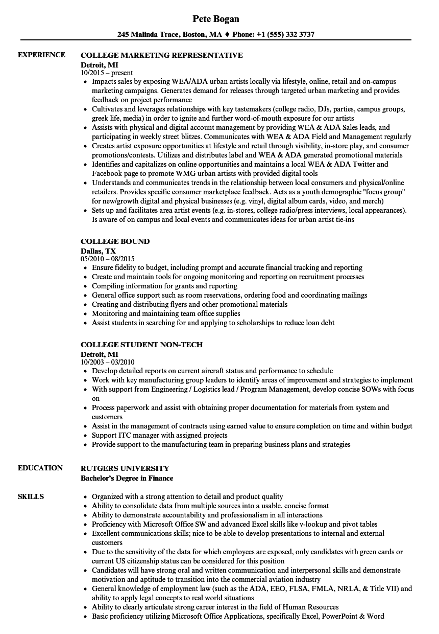 College Resume Samples | Velvet Jobs