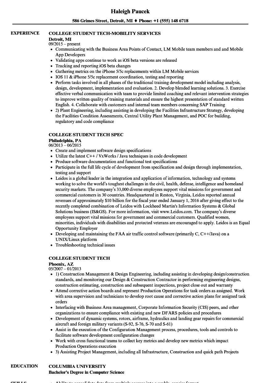 college student tech resume samples velvet jobs