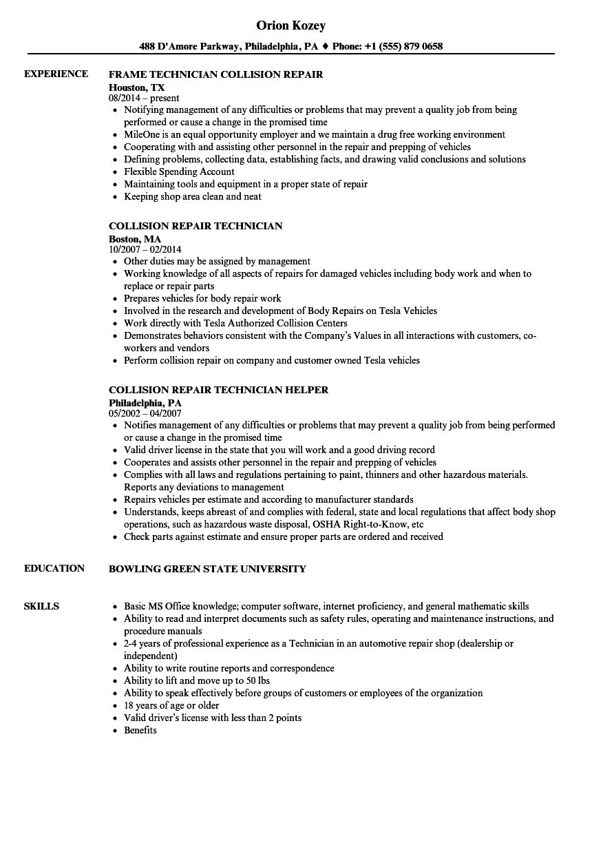 Collision Repair Technician Resume Samples Velvet Jobs