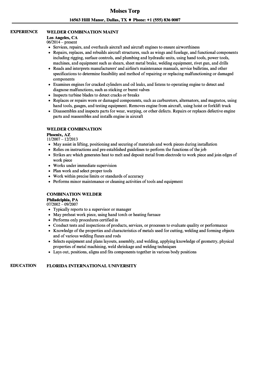 Combination Welder Resume Samples | Velvet Jobs