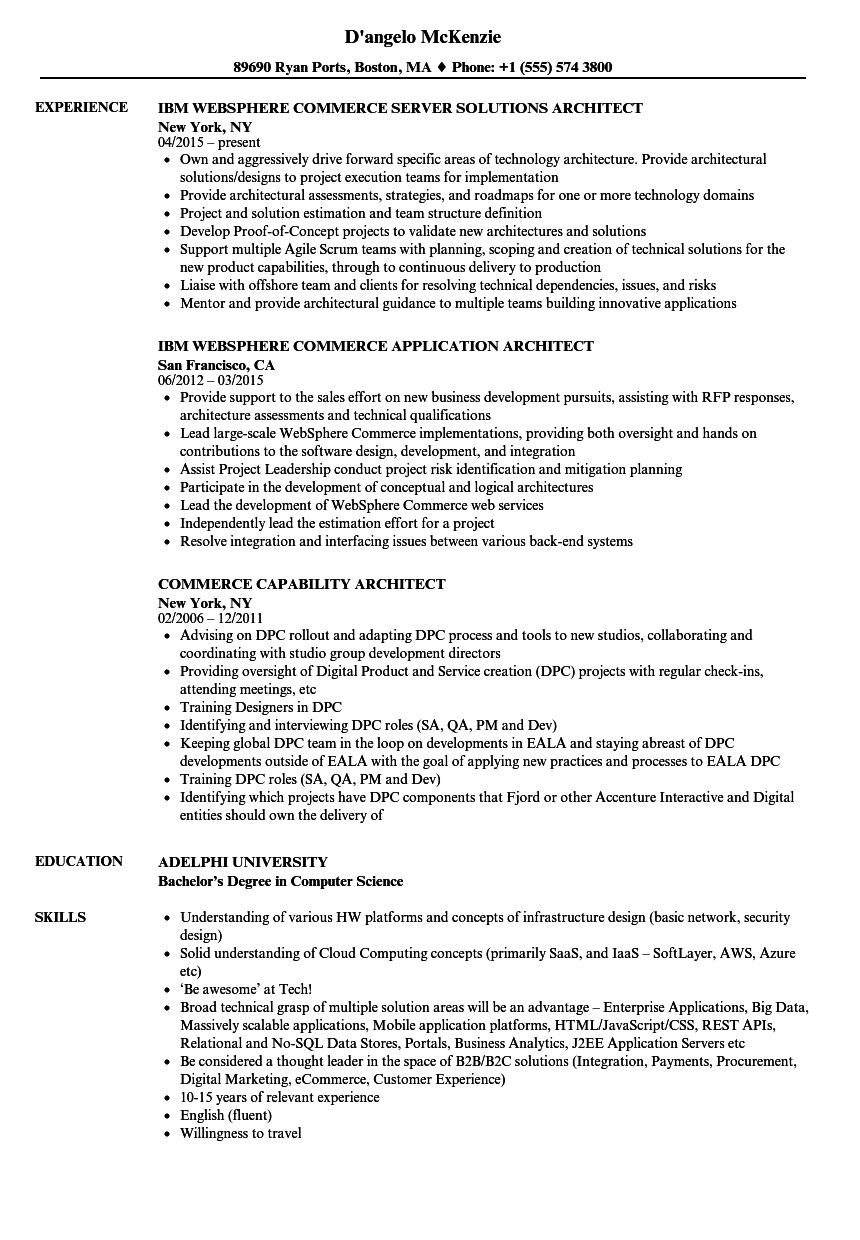download commerce architect resume sample as image file - Architect Resume Samples