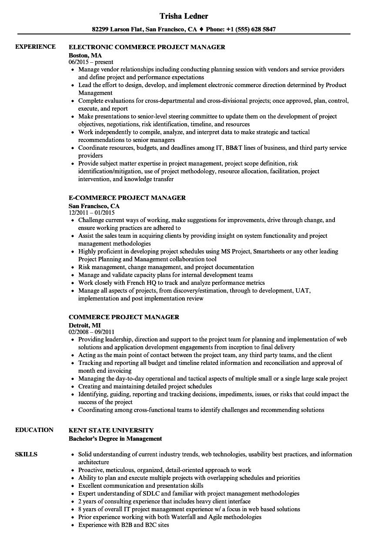 Commerce Project Manager Resume Samples | Velvet Jobs