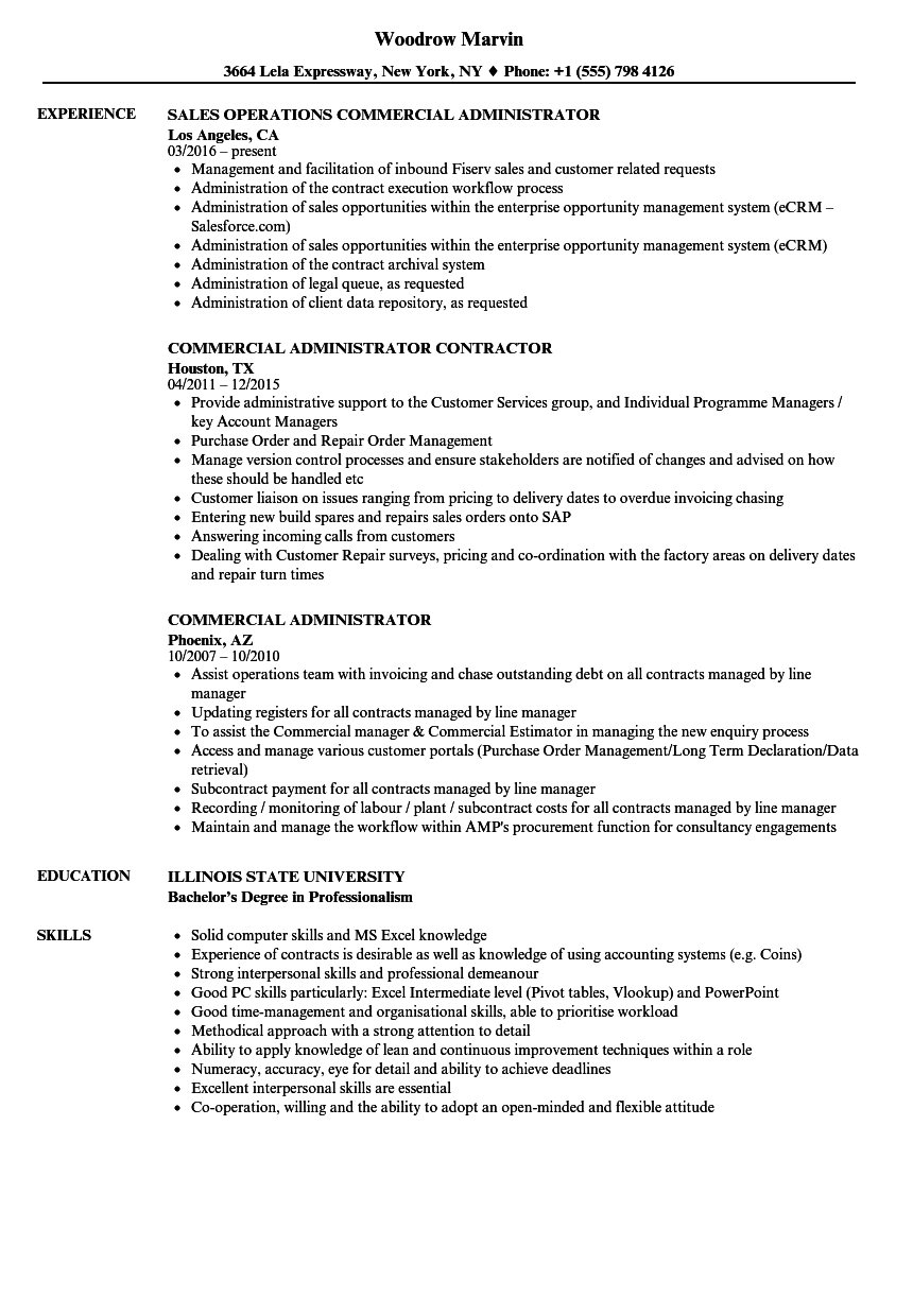 Download Commercial Administrator Resume Sample As Image File