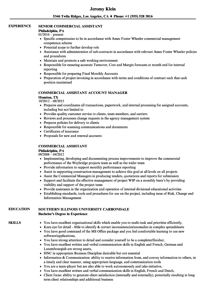 Commercial Assistant Resume Samples | Velvet Jobs
